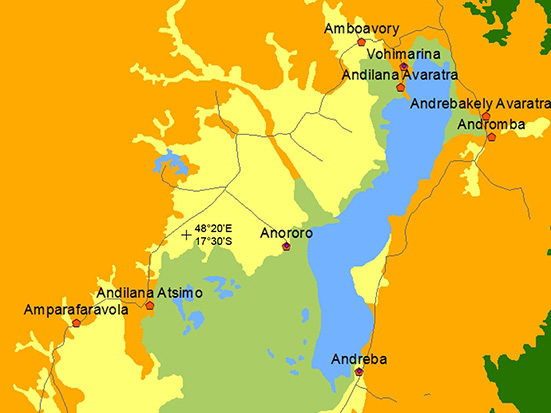 The geographic boundaries of the Alaotra socio-ecological system considered for the role-playing game approach study.