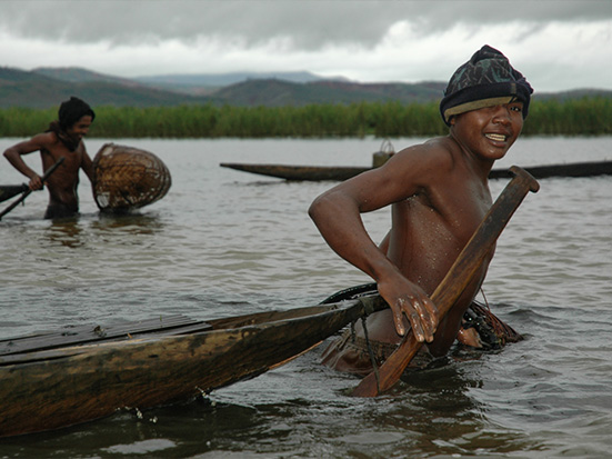 Young men fishing in Lac Alaotra (Photo by Rachel Kramer), Madagascar Conservation & Development