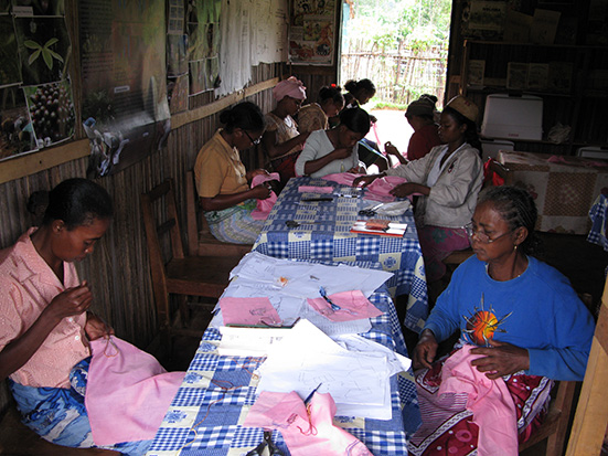 Women in Ambalabe participating in the sewing machine project, one of the legitimacy-granting activities conducted in this community. Photo Lova Randrianasolo. Madagascar Conservation & Development