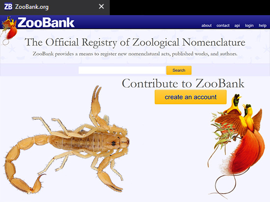 Zoobank registration number, International Code of Zoological Nomenclature